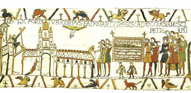 Scene 26 from the Bayeux Tapestry showing funeral of Edward