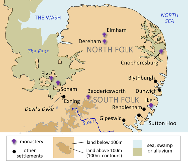 Map of East Anglia during reign of King Anna