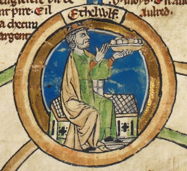 Miniature of King Athelwulf of Wessex,
