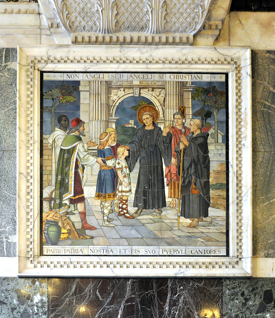 """Mosaic of Saints Augustine and Gregory, """"Non Angli sed Angeli """", at the Chapel of St Gregory and St Augustine, Westminster Cathedral,"""