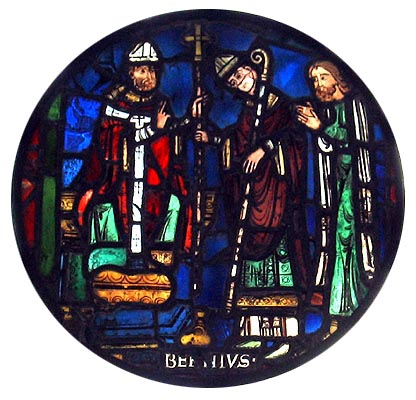 Stained glass roundel in Dorchester Abbey, Oxfordshire, representing the commissioning of Birinus (centre) by Asterius (left).