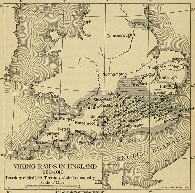 Map of VIking Raids in England 980-1016
