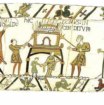 Bayeux Tapestry Scene 47, Hic Domus Incenditur