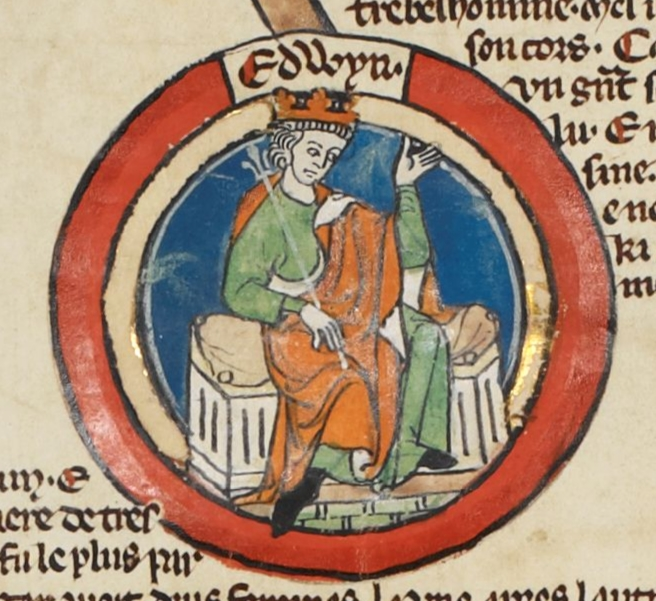 Miniature of Eadwig in the early fourteenth-century Genealogical Roll of the Kings of England in the British Library