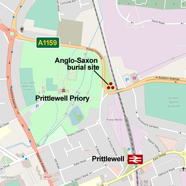 Map of the Anglo-Saxon burial in Prittlewell, Southend-on-Sea
