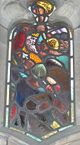 Stained glass window in the cloister of Worcester Cathedral, the death of Penda of Mercia