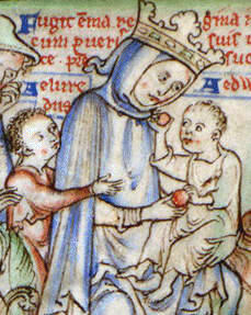 Emma of Normandy with her two young sons fleeing before the invasion of Sweyn Forkbeard