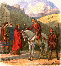 Edward the Martyr is offered a cup of mead by Alfthryth at Corfe Castle