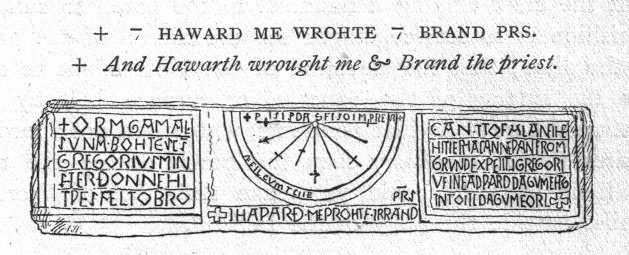 The sundial at Kirkdale, line drawing