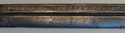 Detail of the futhorc inscription on the Seax of Beagnoth