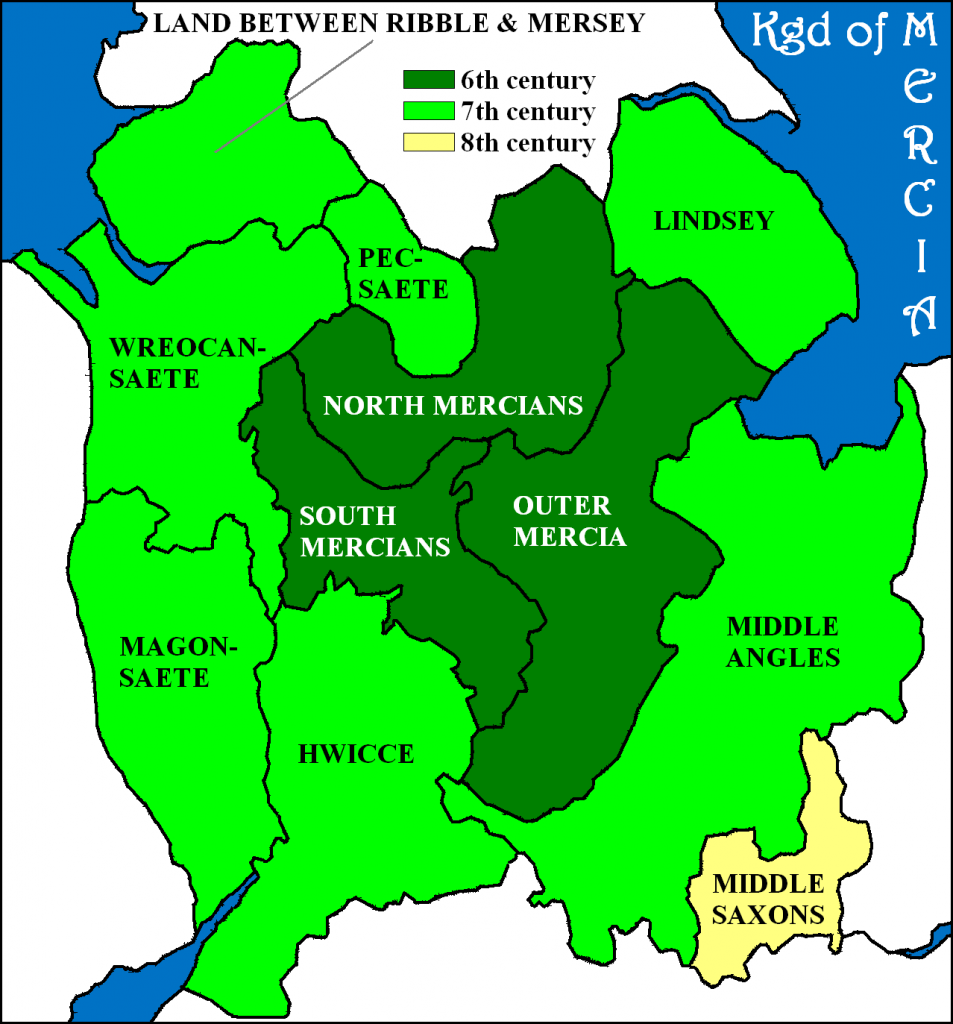 Kingdom of Mercia from 6th-8th centuries