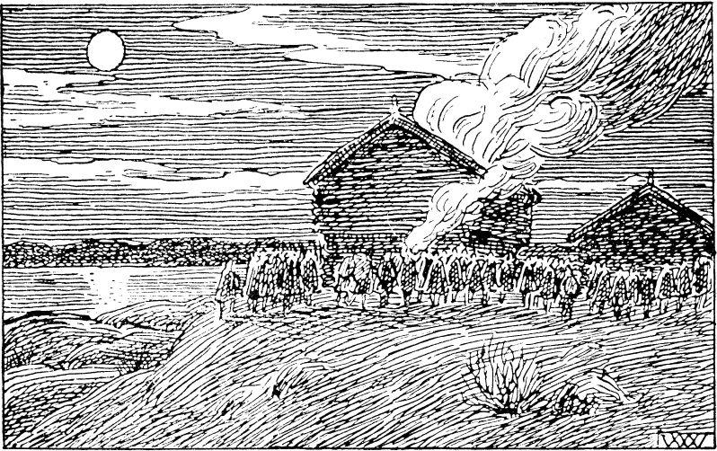 Erling Skakke burns the house of a supporter of the pretender Sigurd Markusfostre (Heimskringla)