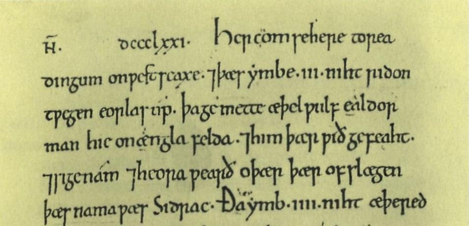 Anglo-Saxon Chronicle describing the battle