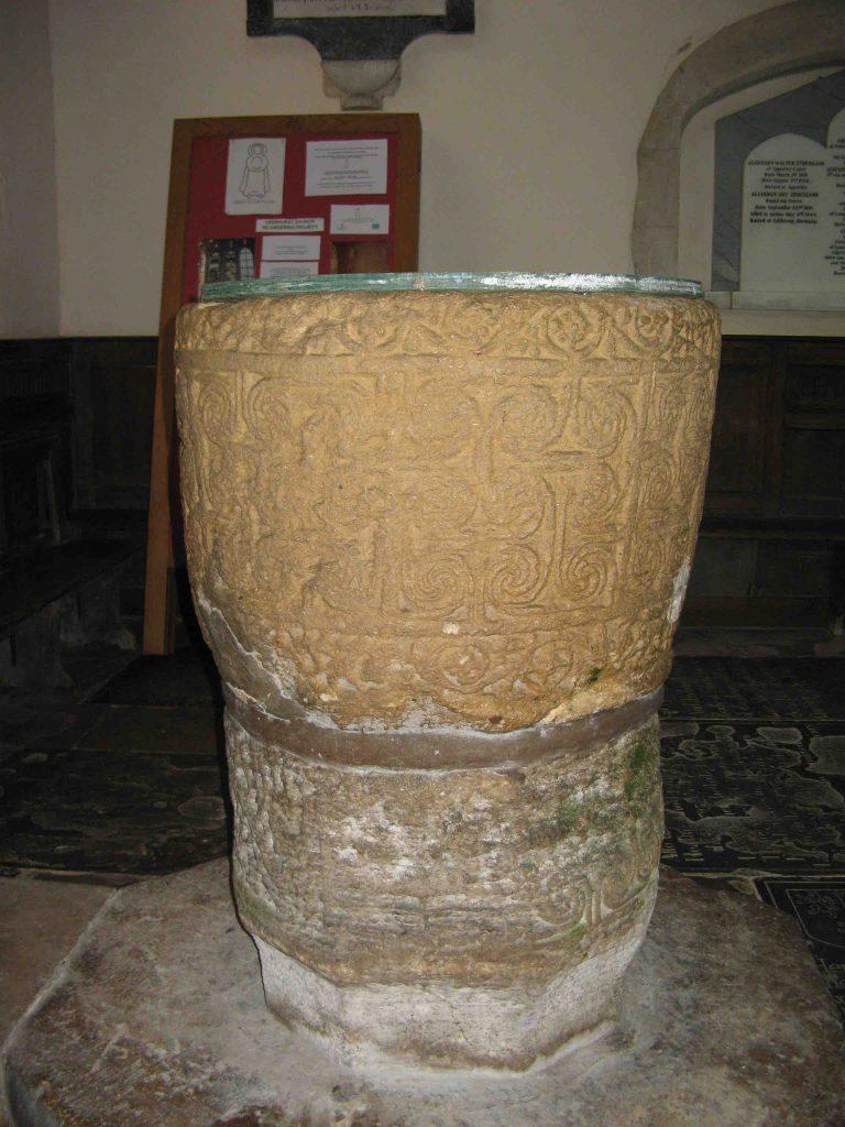Saxon font at Deerhurst Church