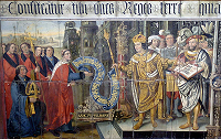 Chichester mural of Cadwalla issuing the charter