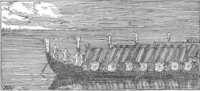 Norwegian ships in the Battle of Niså, by Wilhelm Wetlesen