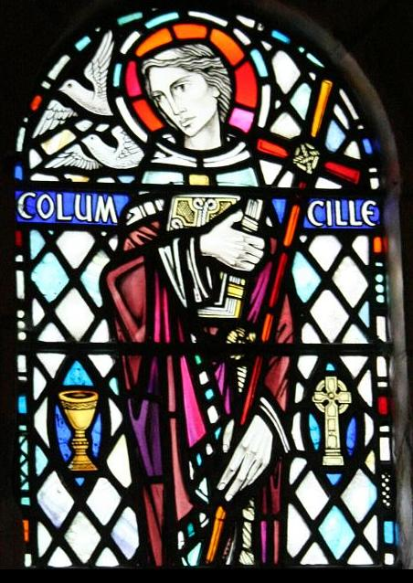 St Columba, Stained glass window in Iona Abbey
