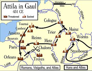 Map of Attila's campaign in Gaul 451 AD