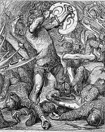 Hereward fighting Normans, illustration from Cassell's History of England (1865)